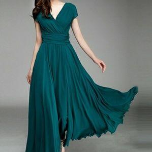 OASAP Elegant Fashion Maxi Surplice Chiffon Dress